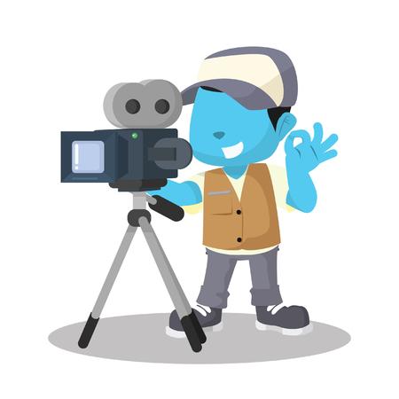 Blue boy movie cameraman recording