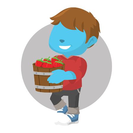 Blue boy holding a bucket of strawberry