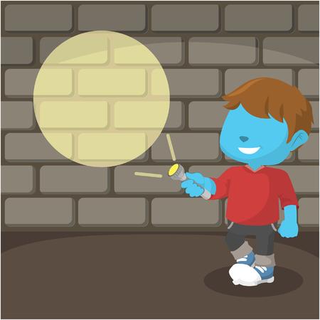 Blue boy pointing his flashlight