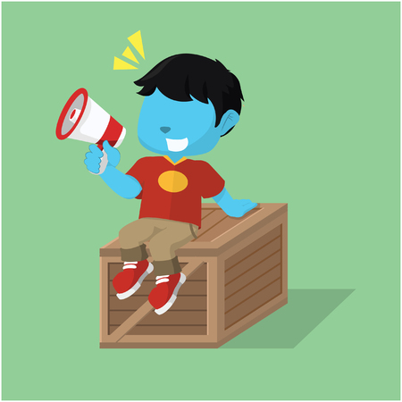 wood crate: Blue boy sitting on crate