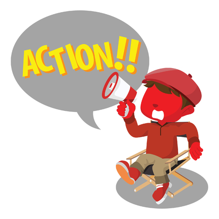 filmmaker: Red boy movie director yelling action vector illustration Illustration
