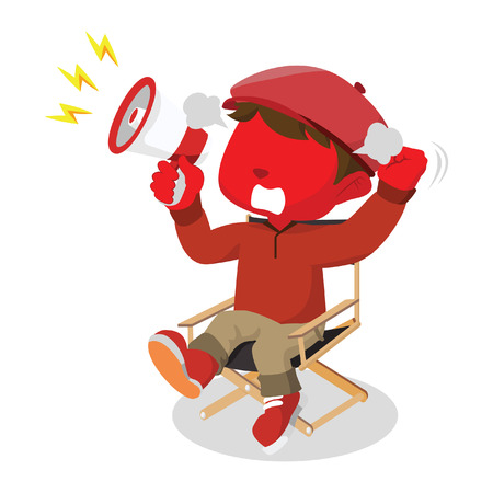 filmmaker: red boy movie director angry Illustration