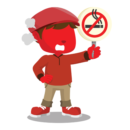red boy holding no smoking sign