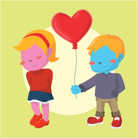 blue boy giving heart shaped balloon to pink girl Illustration