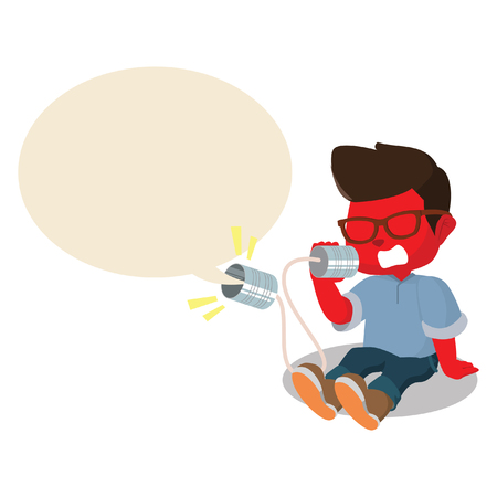 tin can phone: red boy shouting on can phone Illustration