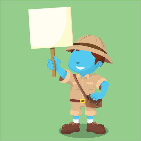 Blaue junge explorer holding zeichen