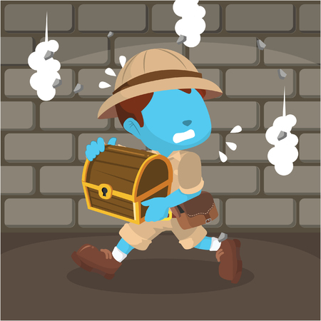blue boy explorer run after taking the treasure Ilustrace
