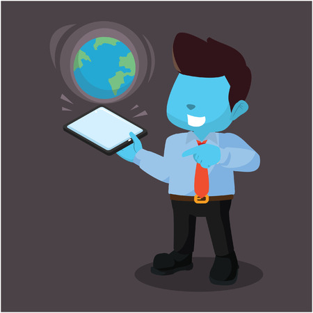 Blue businessman holding phone with earth on it Illustration