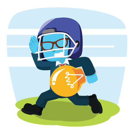blue businessman with football helmet carry bulb