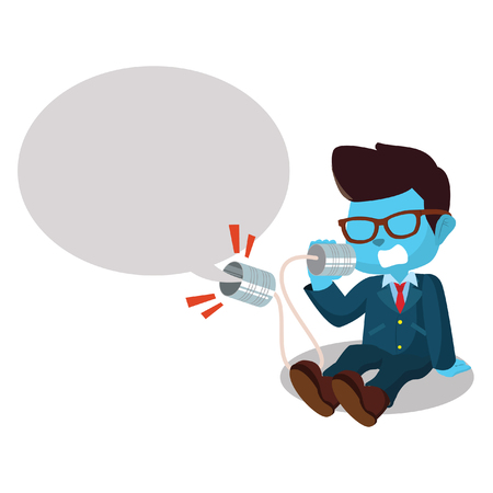 tin can phone: blue businessman shouting on can phone Illustration