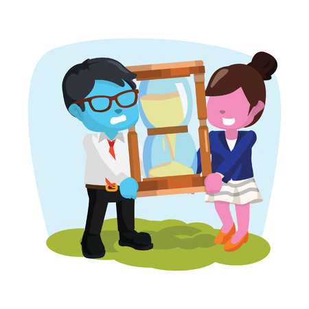 blue businessman and pink businesswoman holding giant hourglass Illustration