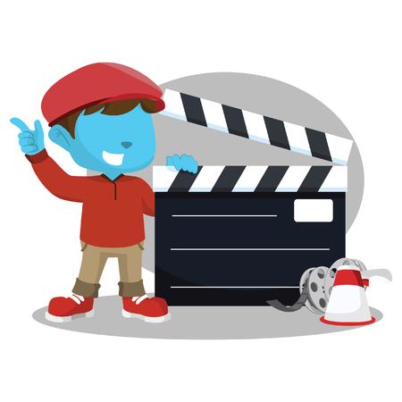 filmmaker: blue boy movie director with giant clapboard