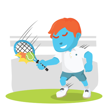 blue boy tennis player repelling ball colorful