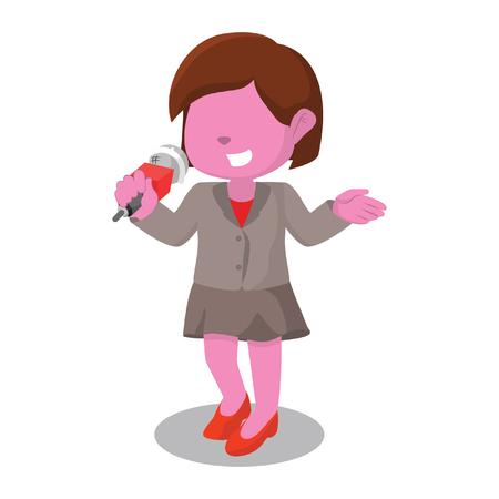 pink girl reporter illustration design