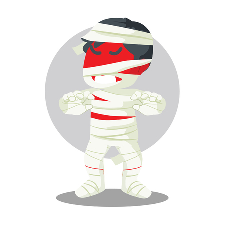 angry red guy in mummy costume scaring