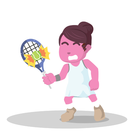 Pink female tennis player hit the ball