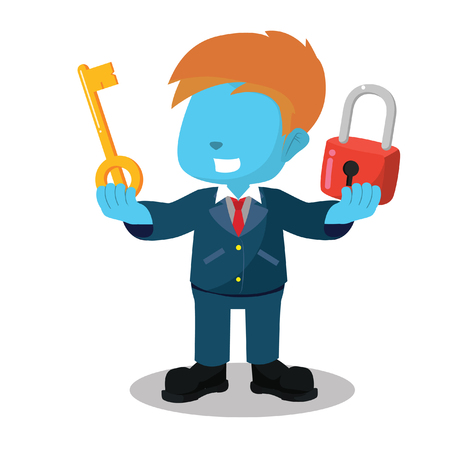 blue businessman holding lock and key