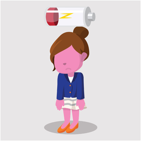 energy needs: pink businesswoman tired with battery
