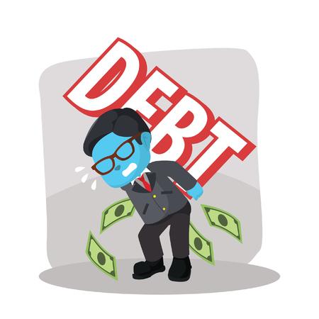 blue businessman carrying debt