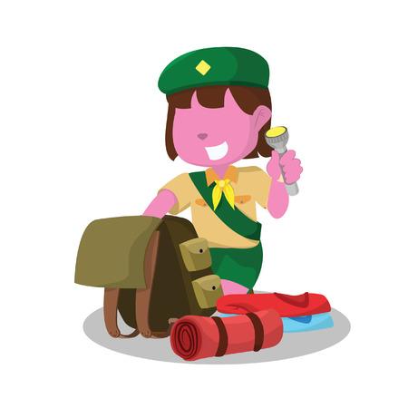 Roze meisje scout verpakking Stock Illustratie