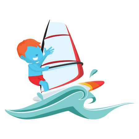 blue boy wind surfer