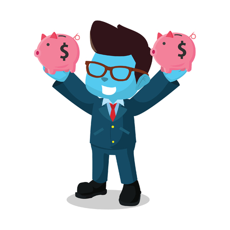 blue businessman holding two piggy bank