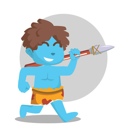 Blue caveman running with stone spear.