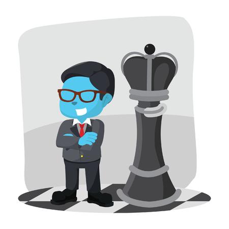 blue businessman standing infront king chess piece