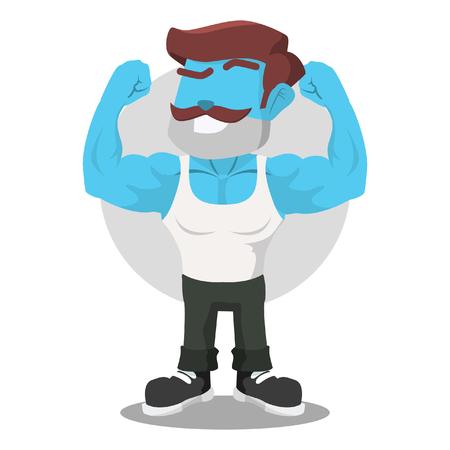 Blue body builder illustration design