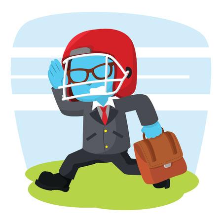 blue businessman running with football helmet