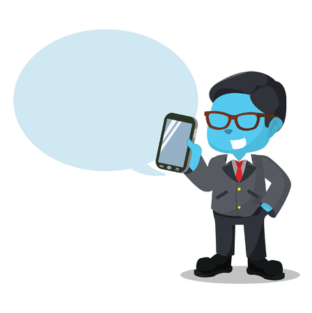 blue businessman holding phone with callout Illustration