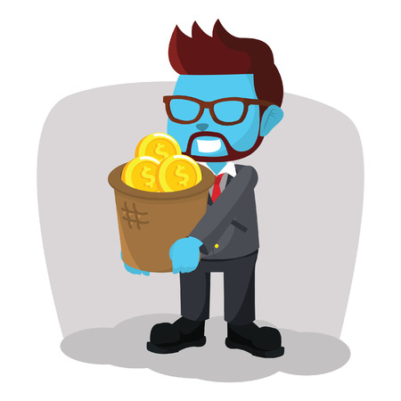 blue businessman holding a basket of money Illustration