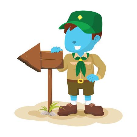 hand stand: blue boy scout illustration design