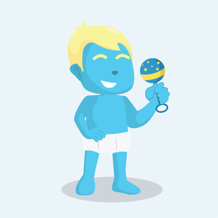 blue baby boy holding his toy Illustration