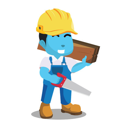 blue handyman holding wooden and hacksaw