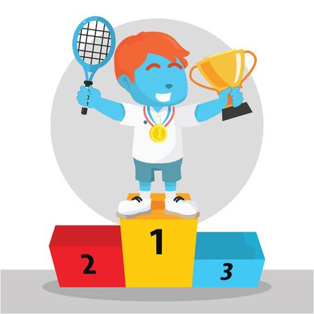 블루 보이 테니스 선수가 메달과 트로피에서 우승 일러스트