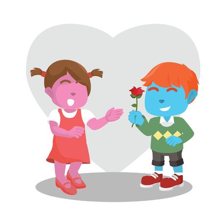 blue boys gives flower to pink girl Illustration