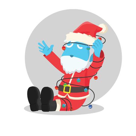 blue santa tangled in christmas lights Illustration