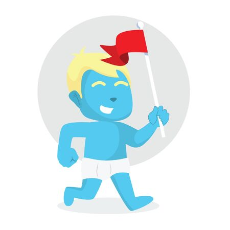 Blue baby boy running with holding flag.
