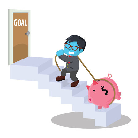 Blue businessman going up the stairs to goal dragging a piggybank Illustration
