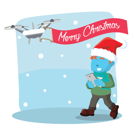 claus: Blue boy flying a drone merry christmas Illustration