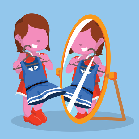 look in mirror: Pink girl looking at the mirror