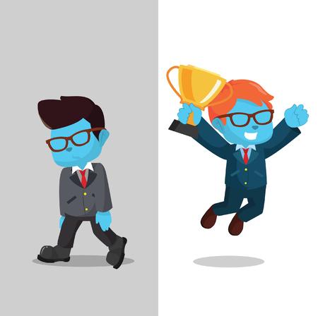 unsuccess: blue businessman winner and loser