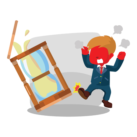 red businessman angry kicking hourglass