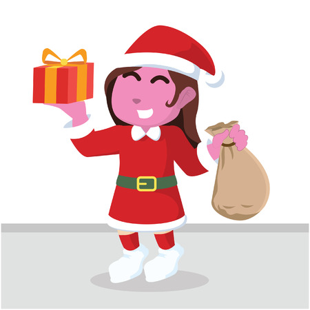 pink santa girl holding sack of gift