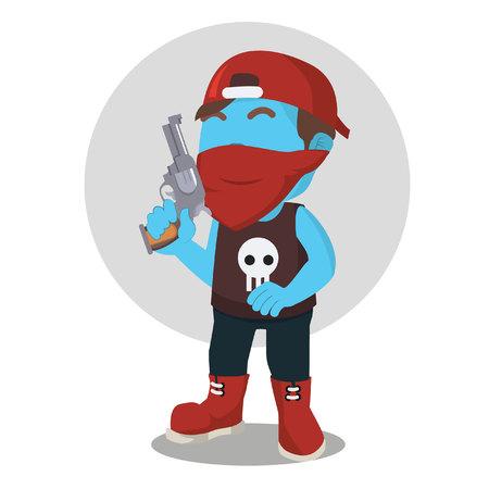 青の犯罪者が銃を保持しています。
