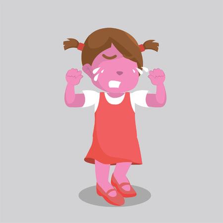 pink girl crying Illustration