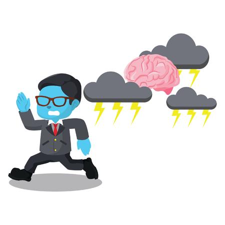blue businessman running from stressed brain