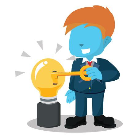 unlocking: blue businessman unlocking bulb