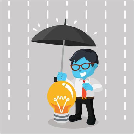 blue businessman covering idea with umbrella Illustration